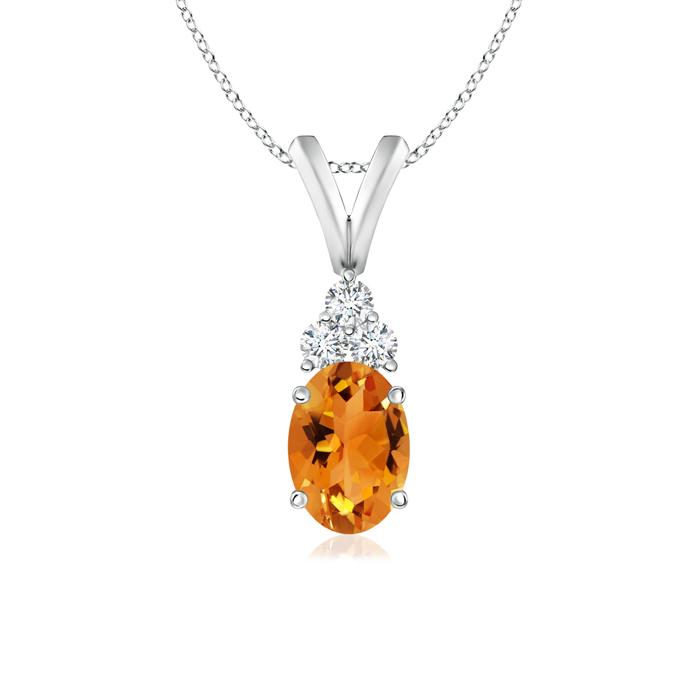 Oval Citrine Solitaire Pendant with Trio Diamond V-Bail - Angara.com