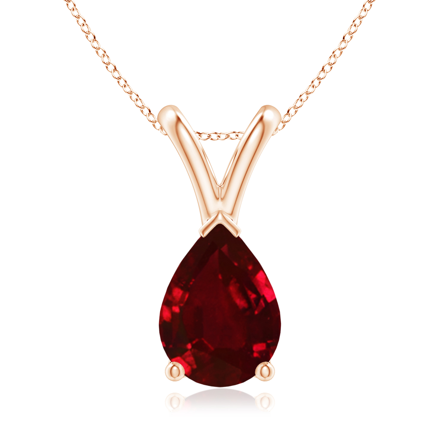 V-Bale Pear Shaped Ruby Solitaire Pendant - Angara.com