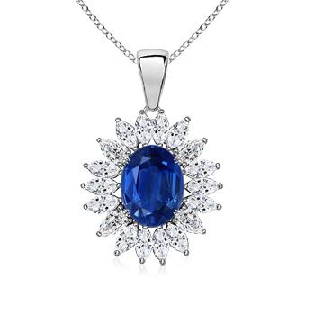 Natural Oval Sapphire Halo Pendant with Cluster Diamond - Angara.com