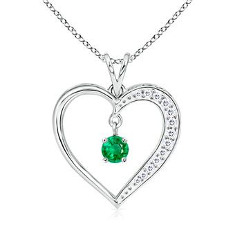 Dangling Round Emerald Open Heart Pendant Necklace - Angara.com