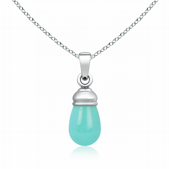 Turquoise Drop Pendant in Top Drill Setting - Angara.com