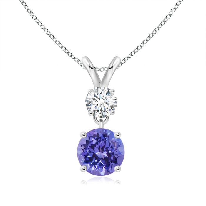 Round Tanzanite and Diamond Two Stone Pendant - Angara.com