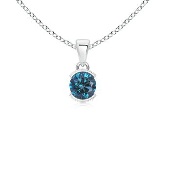 Half-Bezel Round Enhanced Blue Diamond Solitaire Pendant Necklace - Angara.com