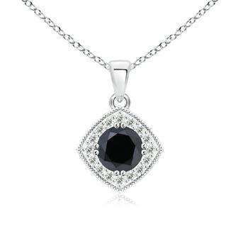 Round White & Enhanced Black Diamond Halo Pendant with Milgrain-Edged - Angara.com