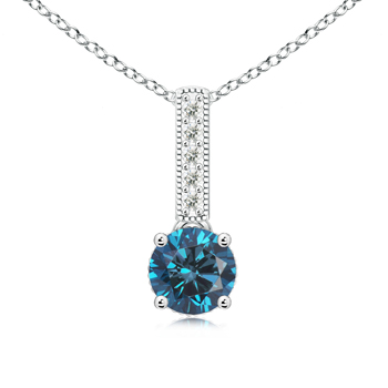 Solitaire Round Enhanced Blue Diamond Pendant with Diamond Bail - Angara.com