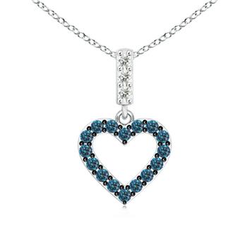 Prong Set Open Heart Enhanced Blue Diamond Pendant Necklace - Angara.com
