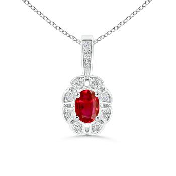 Diamond Halo Oval Ruby Flower Pendant - Angara.com
