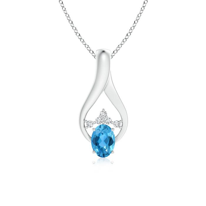 Solitaire Oval Swiss Blue Topaz Wishbone Pendant with Diamonds - Angara.com