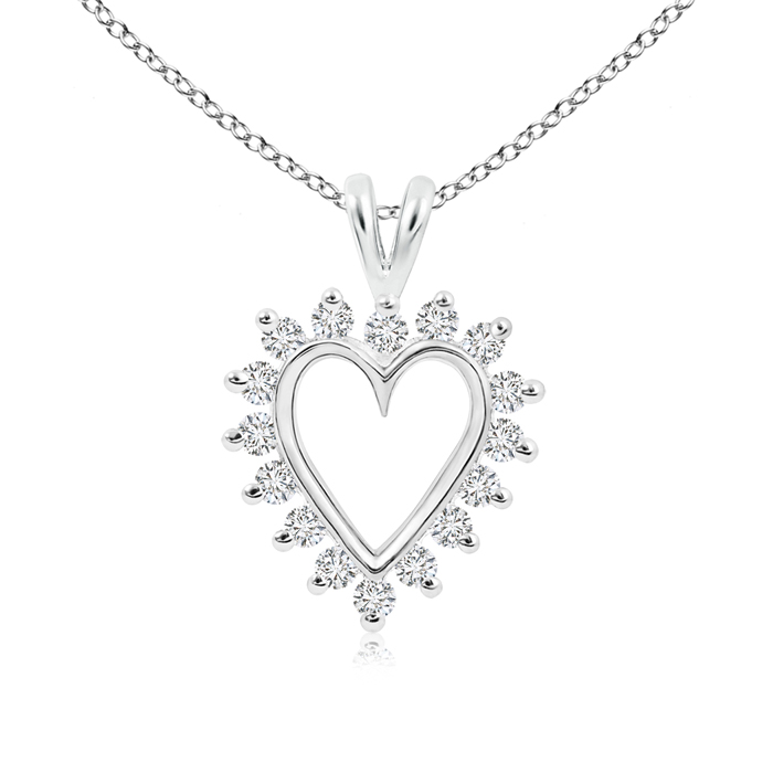 V-Bail Prong Set Open Heart Diamond Pendant Necklace - Angara.com