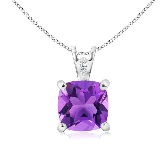 Solitaire Cushion Amethyst Pendant with Diamond Accents - Angara.com