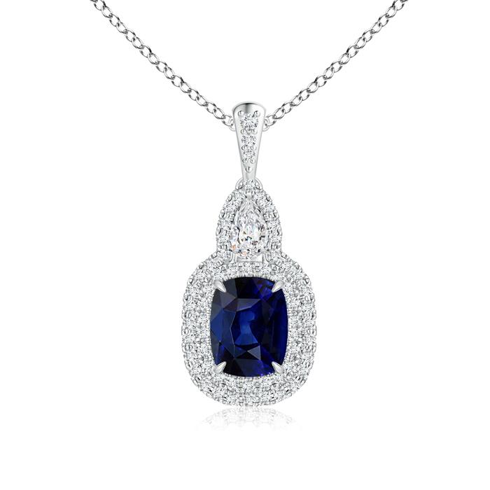 Claw Cushion Sapphire Halo Pendant with Pear Diamond Accents - Angara.com