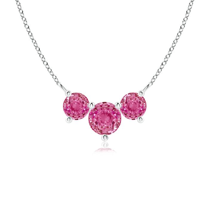 Classic Trio Pink Sapphire Necklace Past Present Future - Angara.com