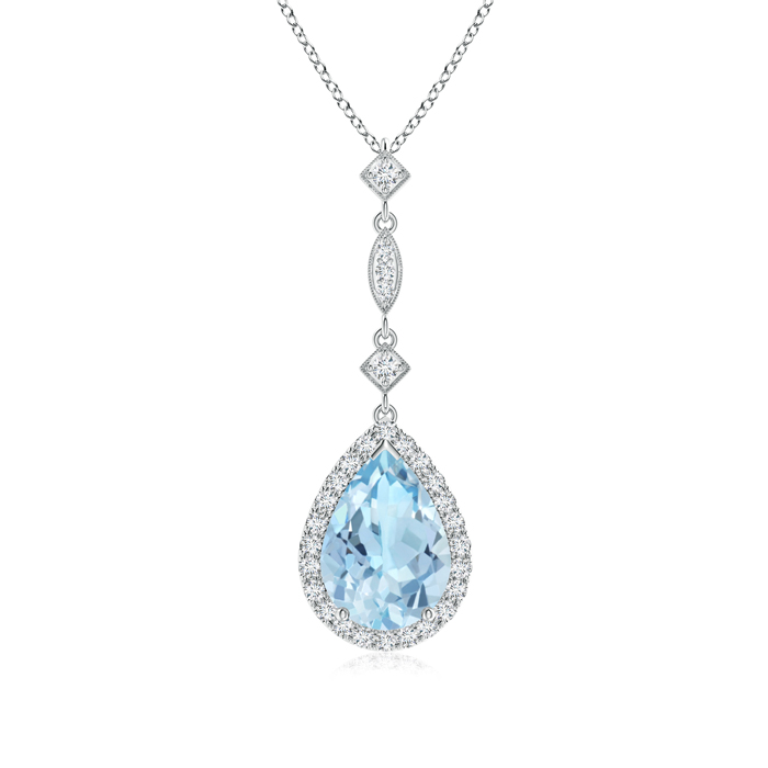 Pear Shaped Aquamarine Teardrop Pendant with Diamond Accents - Angara.com