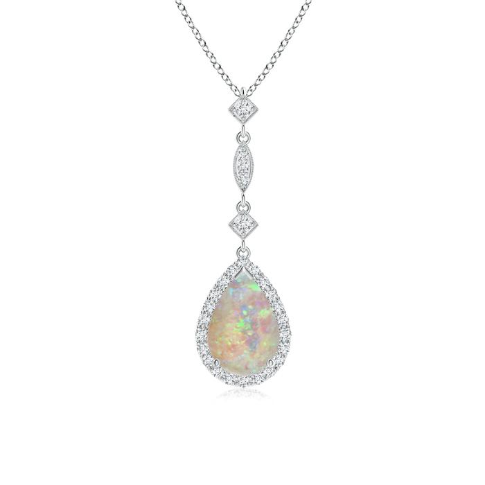 Pear Shaped Opal Teardrop Pendant with Diamond Accents - Angara.com
