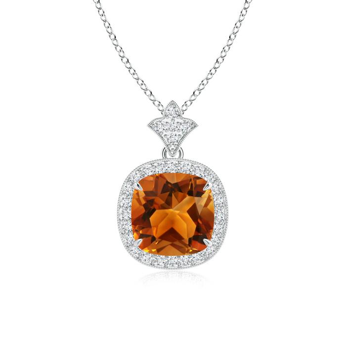 Claw Set Citrine Diamond Pendant with Milgrain Detailing - Angara.com