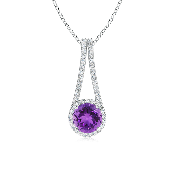 Long V Bale Amethyst and Diamond Halo Pendant - Angara.com
