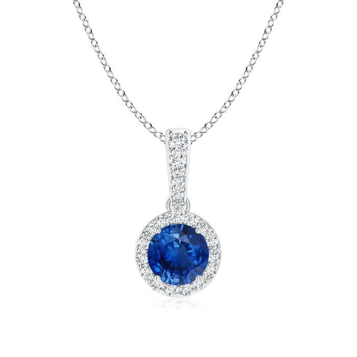 Dangling Sapphire Pendant Necklace with Diamond Halo - Angara.com