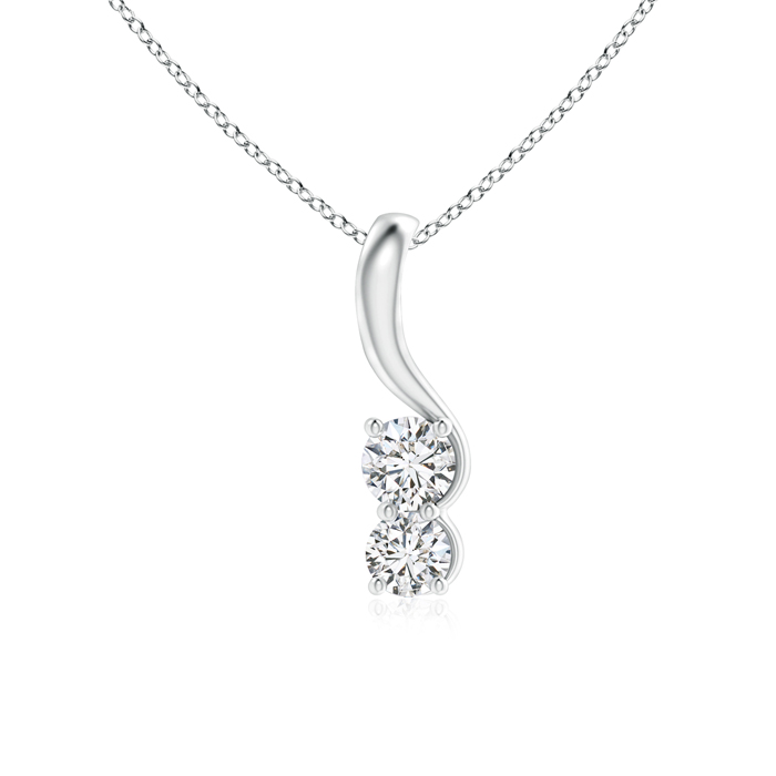 Twist Two Stone Elegant Diamond Pendant Necklace - Angara.com