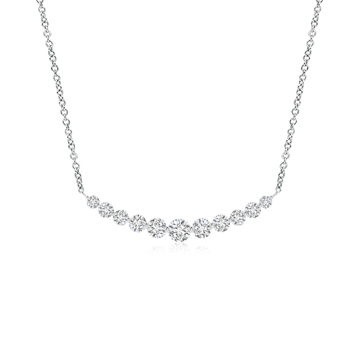 Contemporary Round Diamond Journey Pendant Necklace - Angara.com