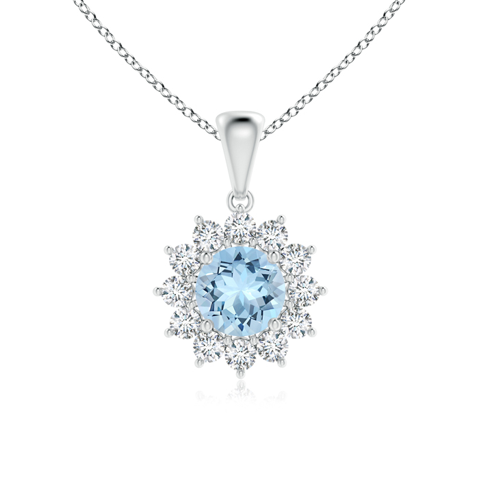 Round Aquamarine Flower Pendant with Diamond Halo - Angara.com