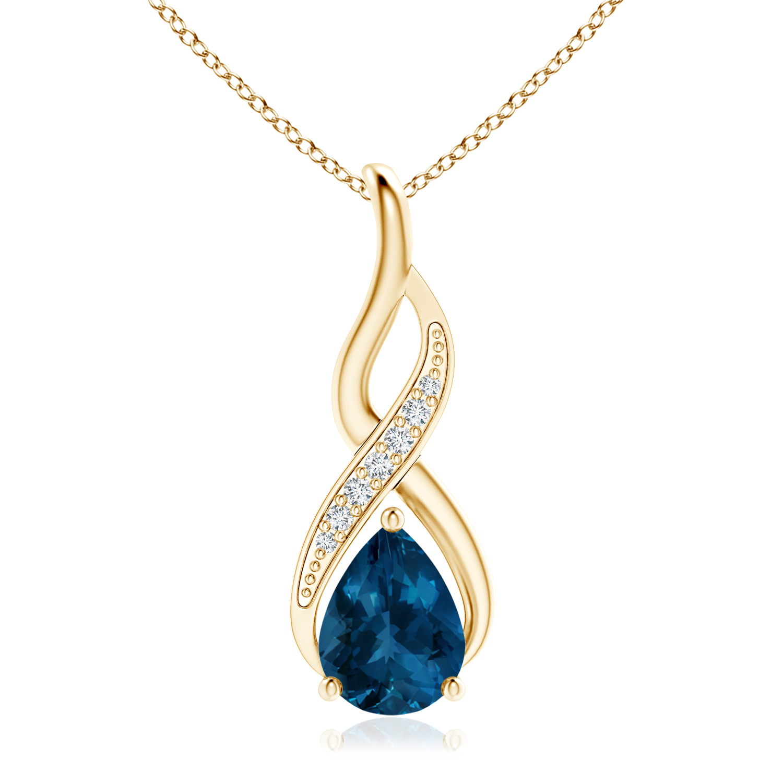 London Blue Topaz Infinity Swirl Pendant with Diamonds - Angara.com
