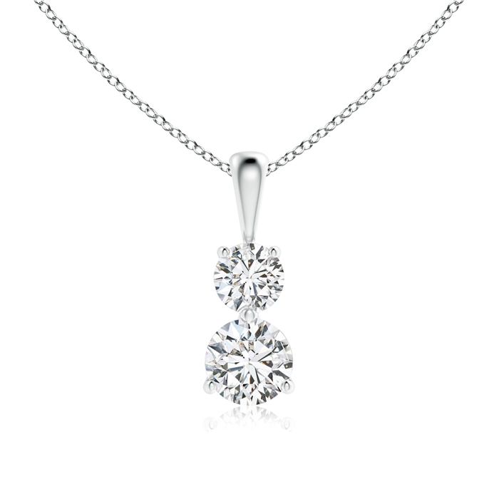 3 Prong-Set Two Stone Diamond Pendant Necklace - Angara.com