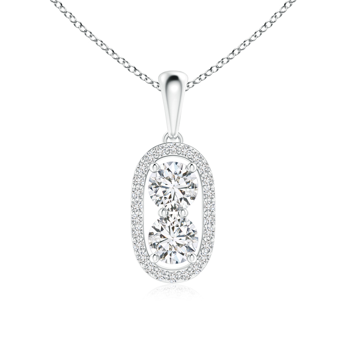 Two Stone Diamond Halo Pendant Necklace - Angara.com