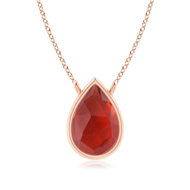 Pear-Shaped Garnet Solitaire Necklace - Angara.com
