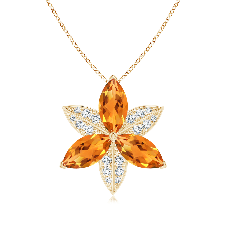 Citrine and Diamond Trillium Flower Pendant - Angara.com