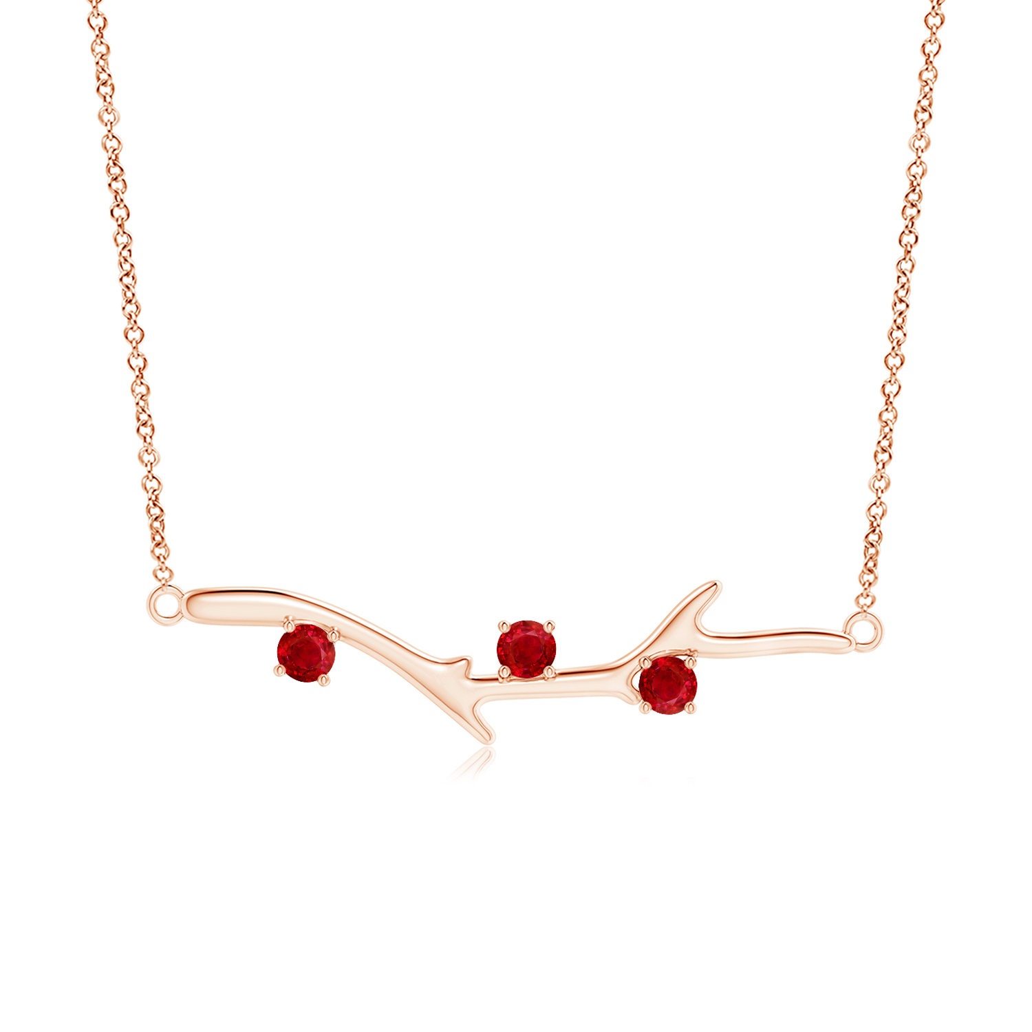 Prong Set Ruby Tree Branch Necklace - Angara.com