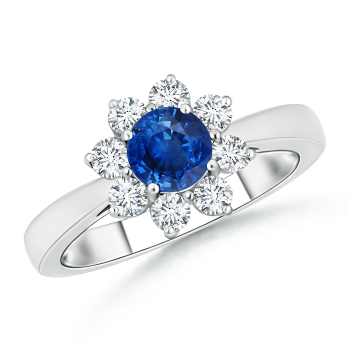 Tapered Shank Sapphire and Diamond Flower Ring - Angara.com