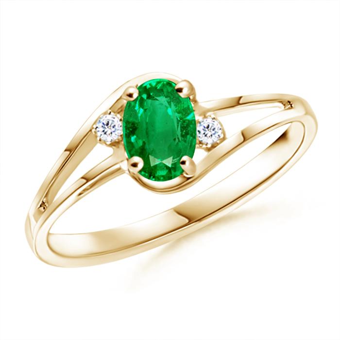 Split Shank Solitaire Oval Emerald and Diamond Ring - Angara.com