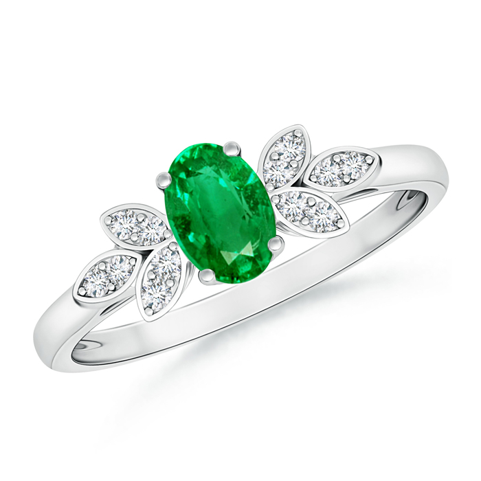 Vintage Oval Solitaire Emerald Ring with Diamond Accents - Angara.com