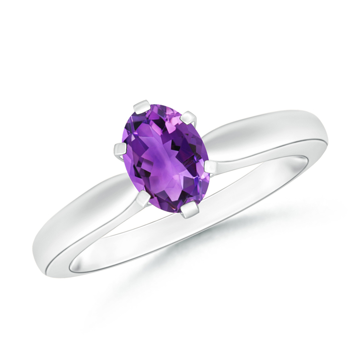 6 Prong Tapered Shank Oval Solitaire Amethyst Ring - Angara.com