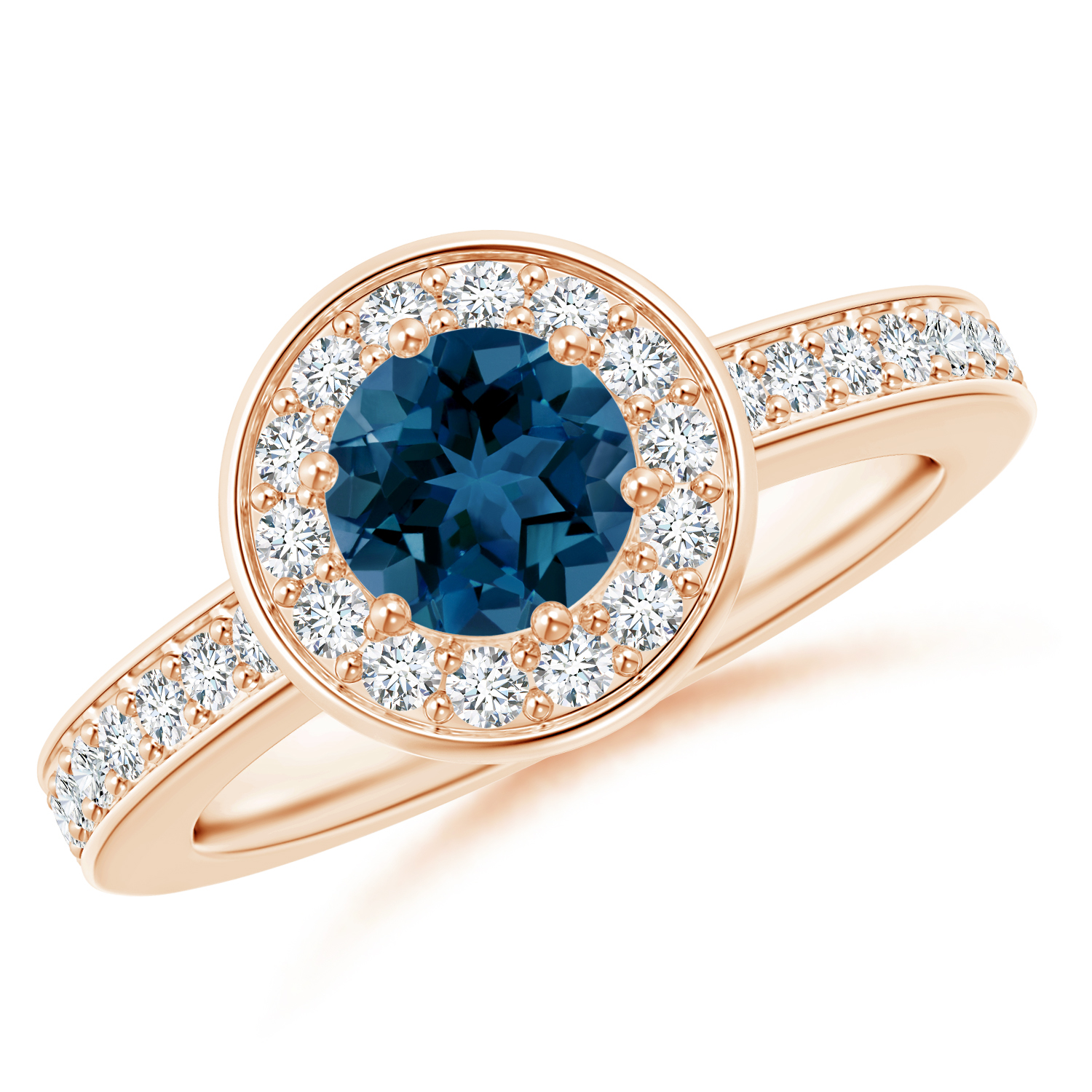 Round London Blue Topaz and Diamond Halo Ring - Angara.com