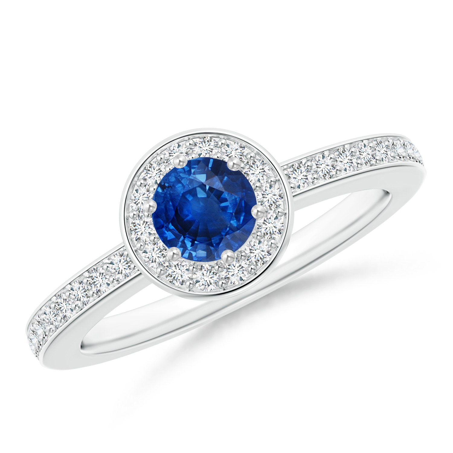 Round Blue Sapphire Halo Ring with Diamond Accent - Angara.com