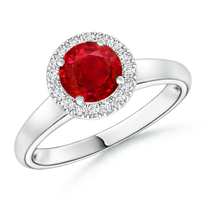 Classic Round Ruby and Diamond Halo Ring - Angara.com