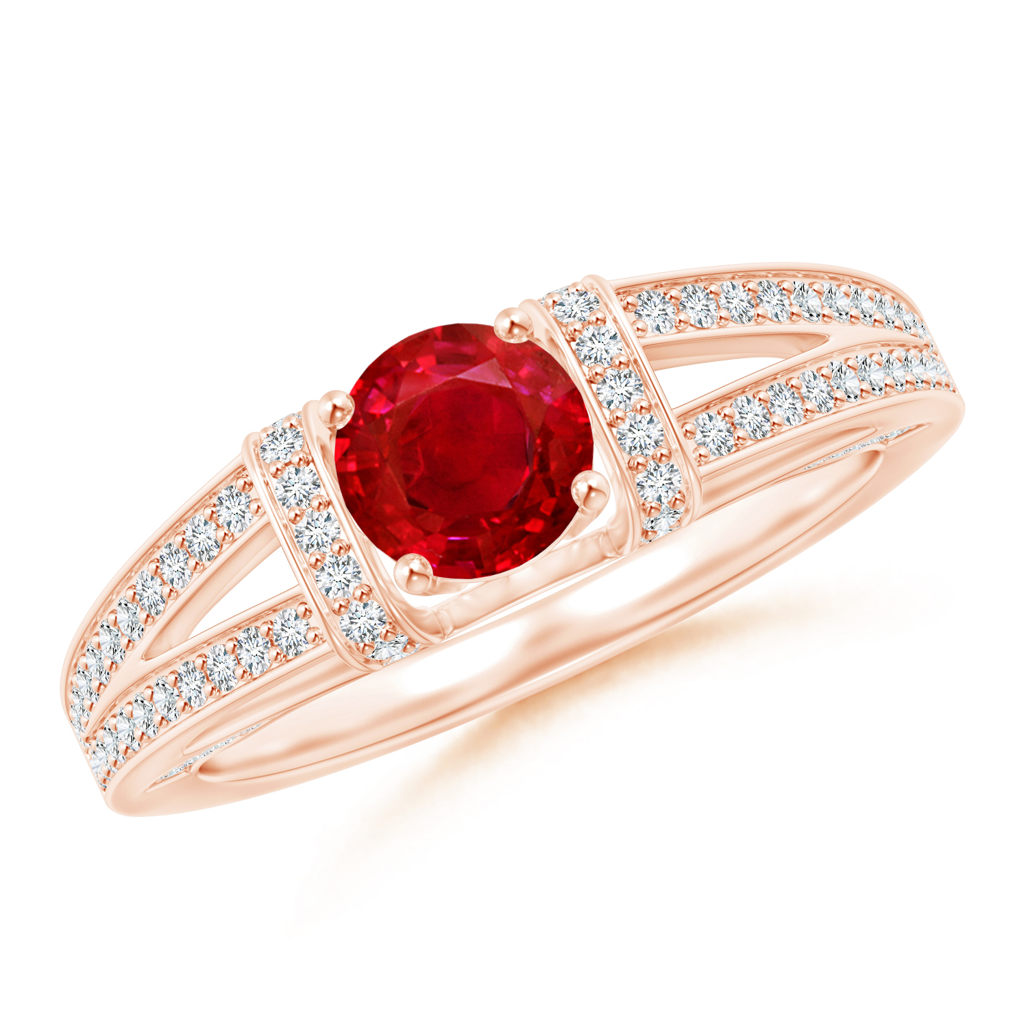 Antique Split Shank Ruby Ring with Diamond Accents - Angara.com
