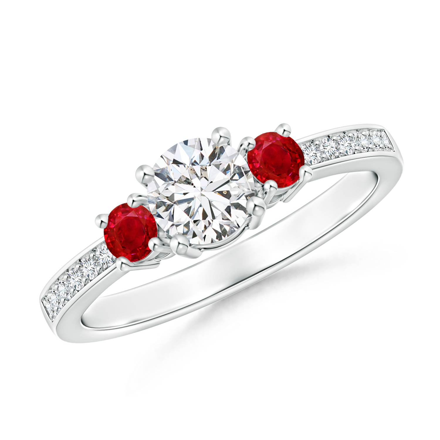 Classic Three Stone Diamond and Ruby Ring - Angara.com