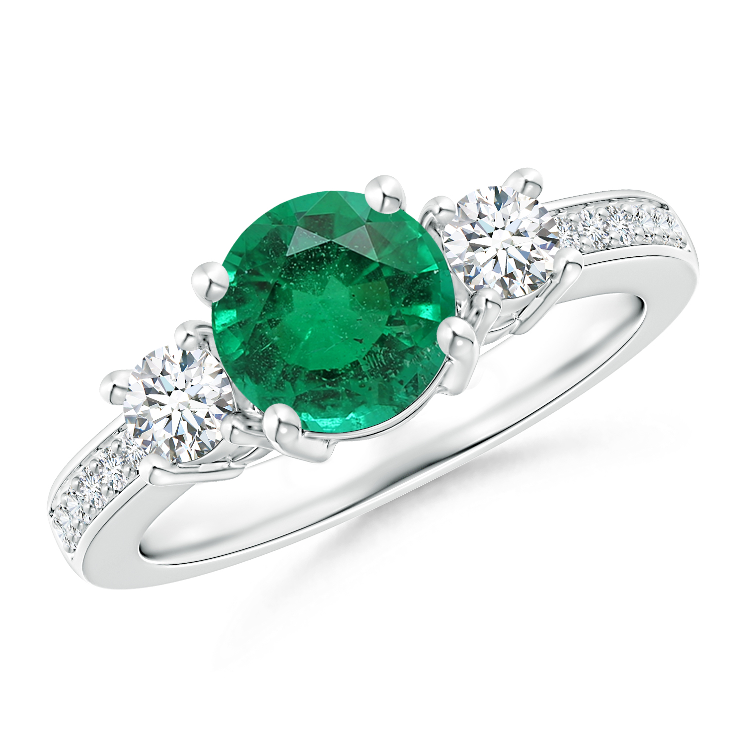 Three Stone Emerald and Diamond Ring (GIA Certified Emerald) - Angara.com