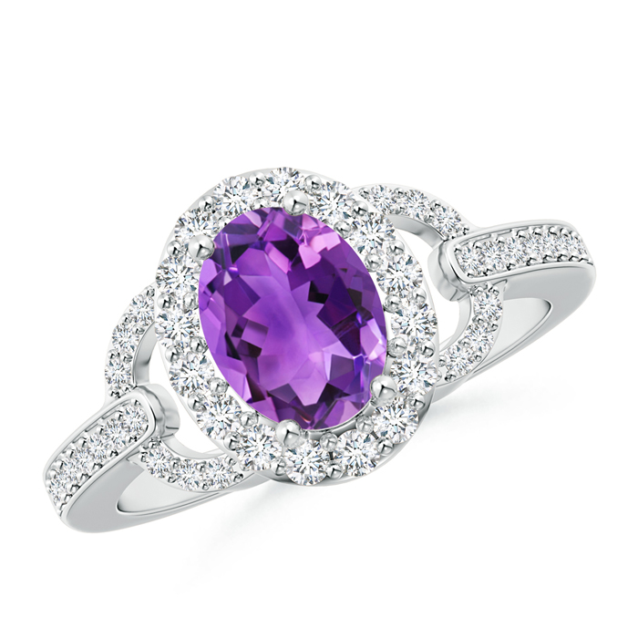 Vintage Inspired Oval Amethyst Halo Ring with Diamond Accents - Angara.com