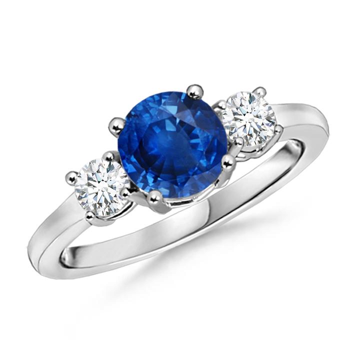 Classic Prong-Set Blue Sapphire & Diamond 3 Stone Ring - Angara.com