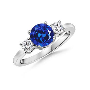 Classic Lab Created Sapphire & Diamond Three Stone Ring - Angara.com