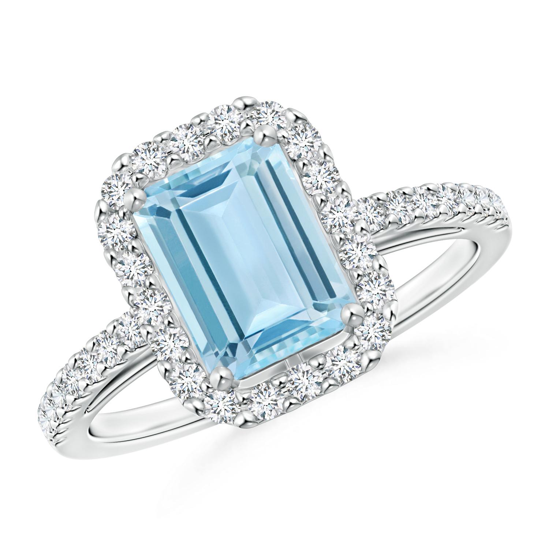 Vintage Inspired Emerald Cut Aquamarine Halo Ring - Angara.com