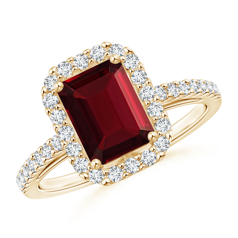 Vintage Inspired Emerald Cut Garnet Halo Ring - Angara.com