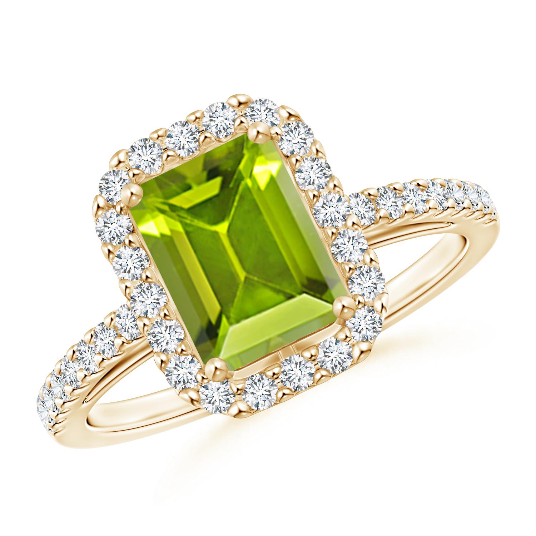 Vintage Inspired Emerald Cut Peridot Halo Ring - Angara.com