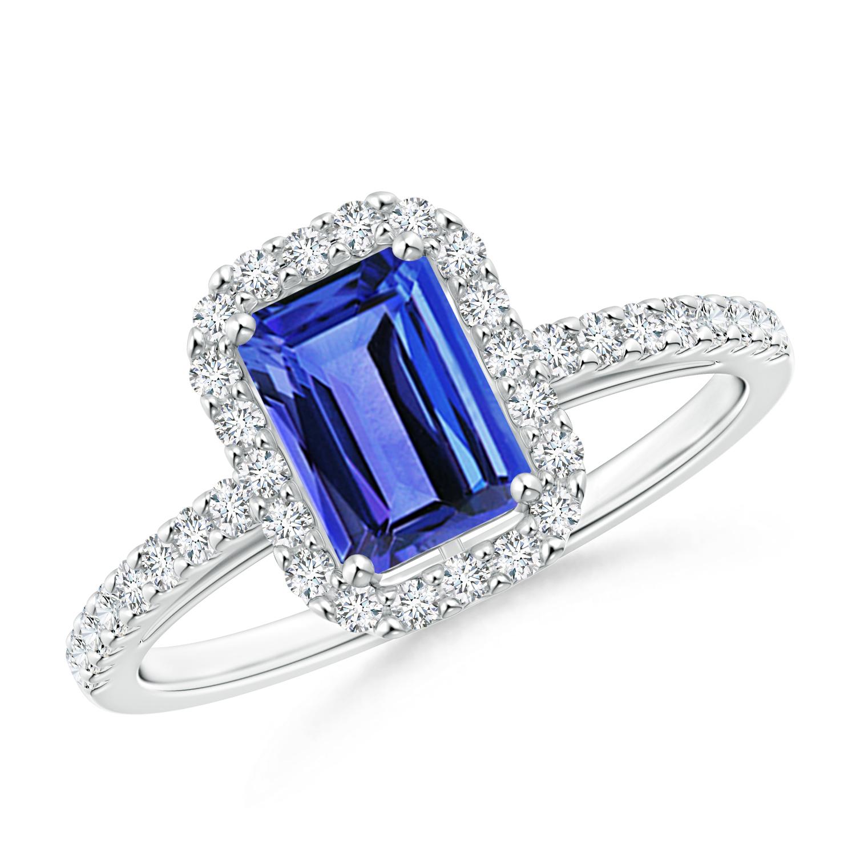 Vintage Inspired Emerald Cut Tanzanite Halo Ring - Angara.com