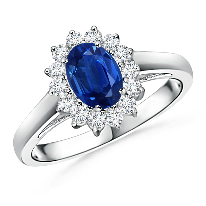 Princess Diana Inspired Blue Sapphire Ring with Diamond Halo - Angara.com