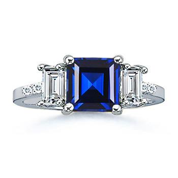 3 Stone Lab Square Sapphire and Baguette Diamond Ring - Angara.com