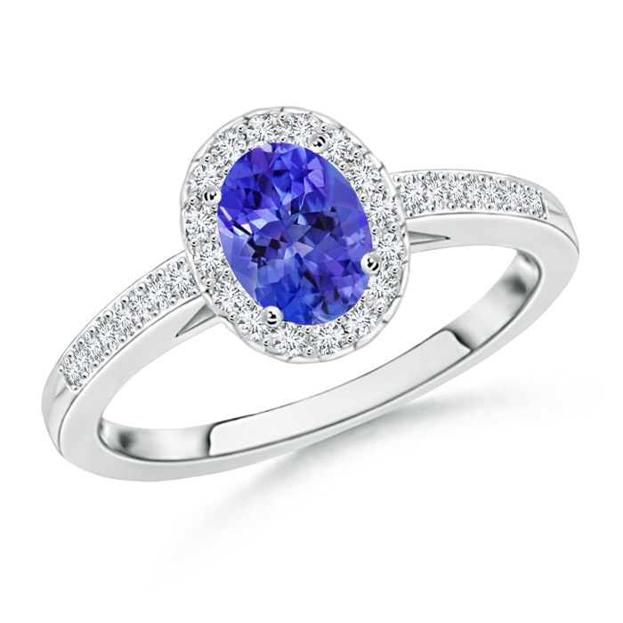 Prong Set Oval Tanzanite Halo Ring with Diamond Accents - Angara.com